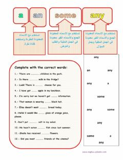 Interactive worksheet A - an -some - any