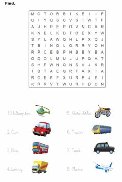 Interactive worksheet Transport. Wordsearch