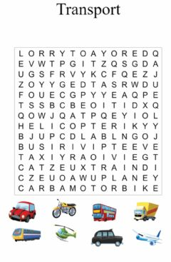 Interactive worksheet Transport. Wordsearch 2