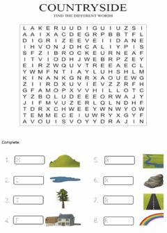 Ficha interactiva Countryside. Wordsearch.