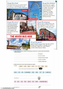 Interactive worksheet London Activities