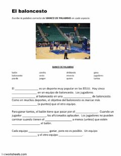 Interactive worksheet El baloncesto