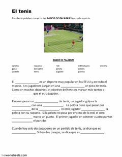 Interactive worksheet El tenis