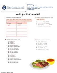 Interactive worksheet Would you like some water?
