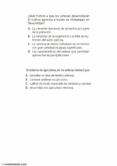 Interactive worksheet Los Aztecas
