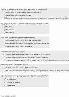 Interactive worksheet Los Mayas