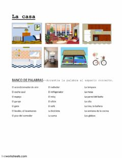 Interactive worksheet Vocabulario de la casa