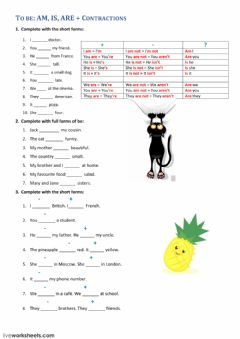 Interactive worksheet To be: am, is, are - contractions