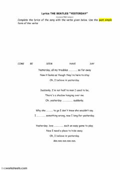 Interactive worksheet Song Yesterday