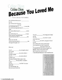 Ficha interactiva Song: because you loved me