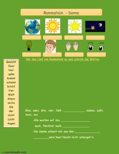 Interactive worksheet Rammstein  Sonne