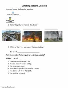 Interactive worksheet Listening - natural disasters