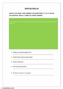 Interactive worksheet Mountain gorillas