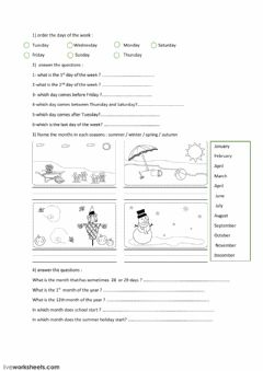Interactive worksheet Seasons Months Days of week