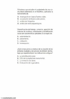 Interactive worksheet Las primeras civilizaciones