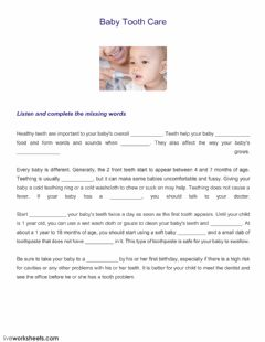 Interactive worksheet Baby tooth care