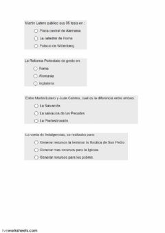 Interactive worksheet Edad moderna II