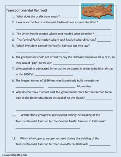 Interactive worksheet Transcontinental Railroad