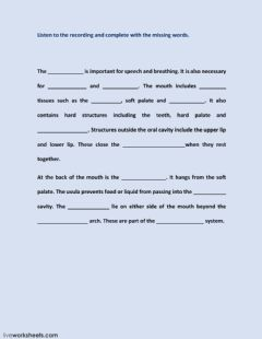 Interactive worksheet The mouth