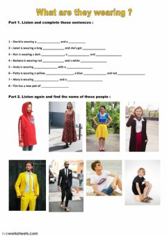 Interactive worksheet What are they wearing ?