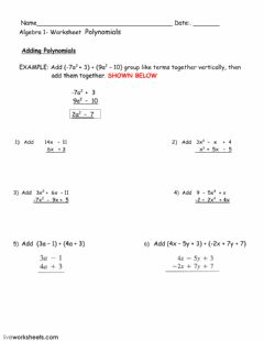 Interactive worksheet Adding polynomials