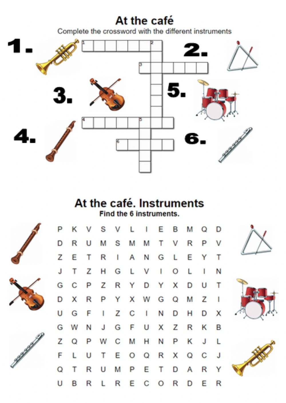 At the café  Instrument  Crossword - Interactive worksheet