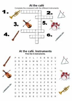 Interactive worksheet At the café. Instrument. Crossword