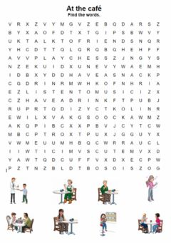 Interactive worksheet At the café. Wordsearch