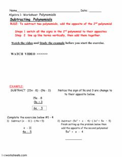 Interactive worksheet Subtracting polynomials