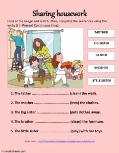Interactive worksheet Family members and housework
