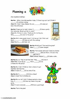 Interactive worksheet Planning a party