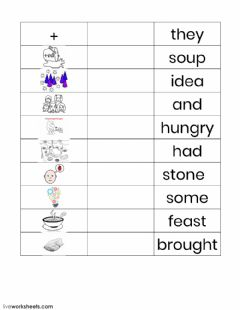 Interactive worksheet Stone Soup sight words