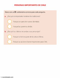 Interactive worksheet Personas importantes de chile 2