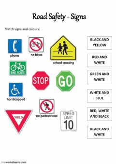 Ficha interactiva Road Safety - Signs