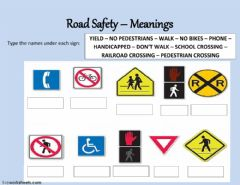 Interactive worksheet Road signs