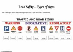 Interactive worksheet Road Safety - Signs groups