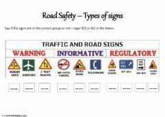 Interactive worksheet Road Safety - Signs groups 2