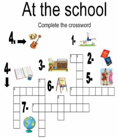 Interactive worksheet At school. Crossword.