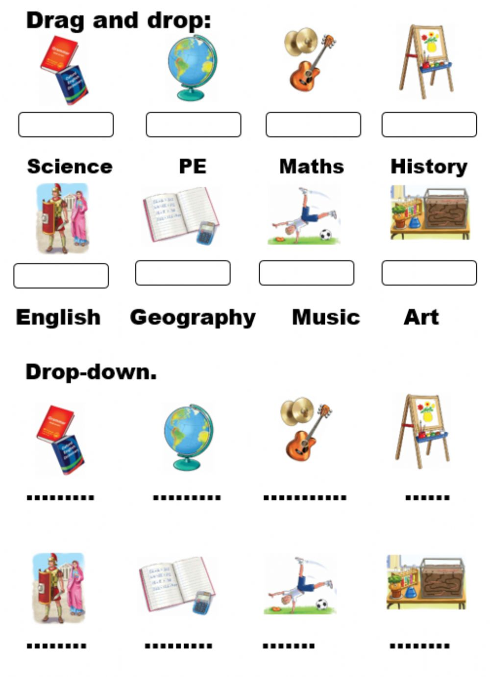 - At The School. Drag And Drop And Choose - Interactive Worksheet
