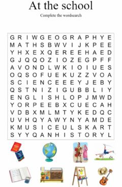 At the school. Wordsearch worksheet preview