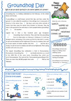 Interactive worksheet Groundhog day