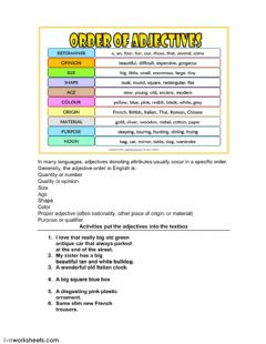 Interactive worksheet Adjective order