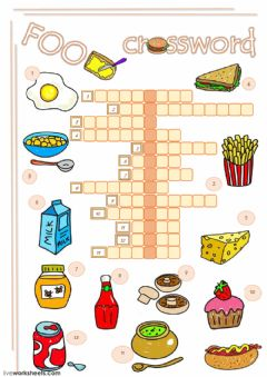 Interactive worksheet Food crossword