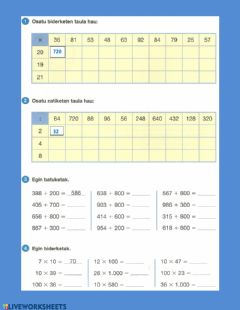 Interactive worksheet Kalkukua