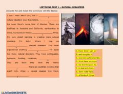 Interactive worksheet Natural disasters test