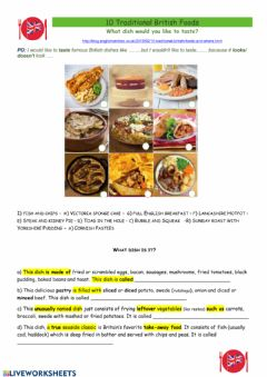 Interactive worksheet Famous dishes