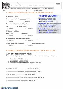 Interactive worksheet Determiners