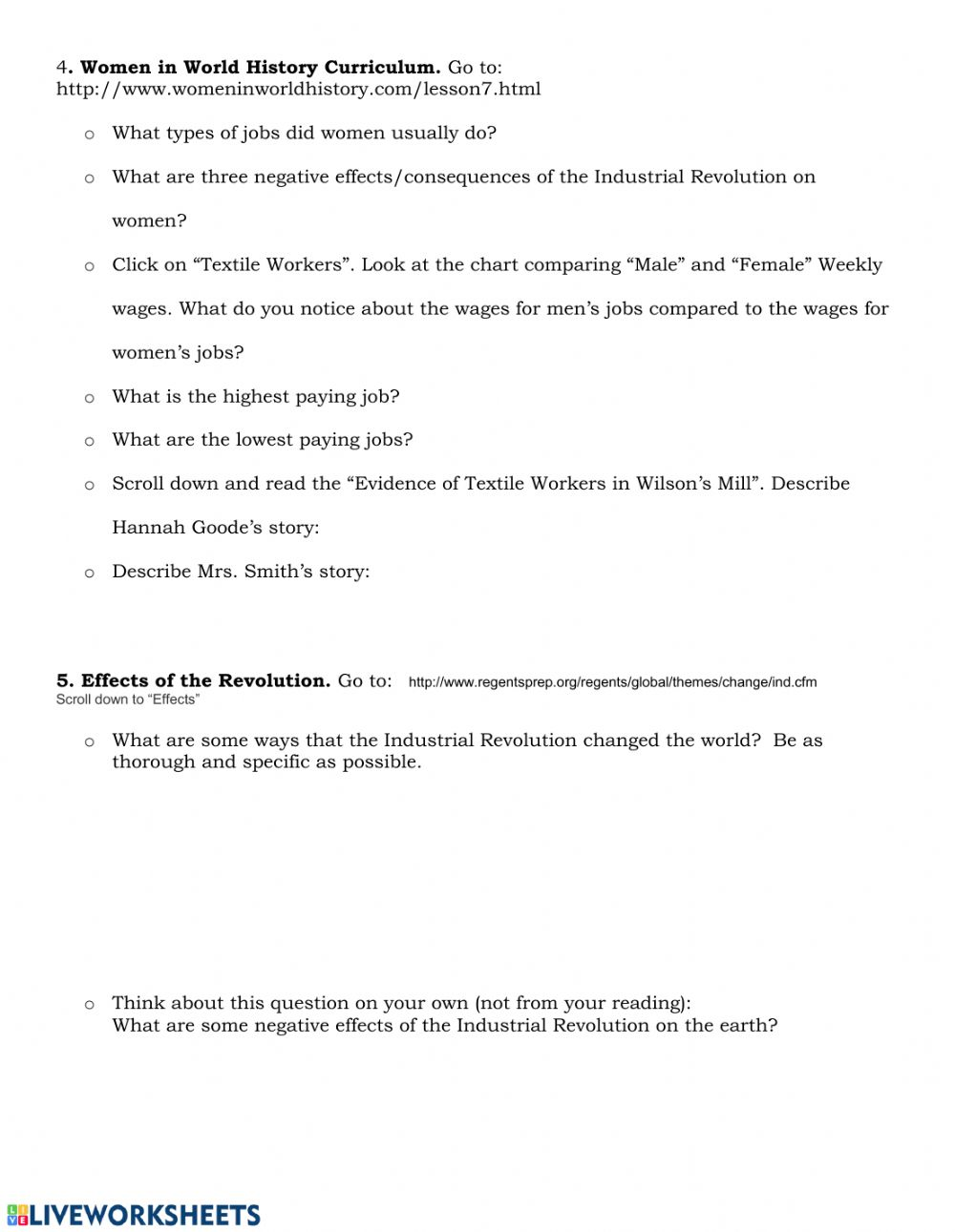 Industrial Revolution Webquest Interactive Worksheet