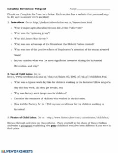 Interactive worksheet Industrial Revolution Webquest