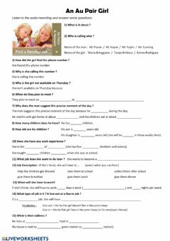 Interactive worksheet Au Pair Job
